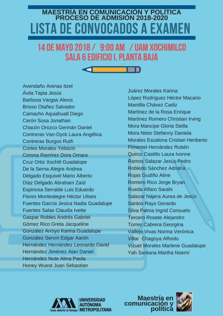 Lista de aspirantes convocados a Examen. Lunes 14 de Mayo 2018, 9:00h